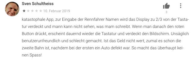 1-Stern-Bewertung für die offizielle Carrera Go!!! Plus-App auf Google Play. SmartRace GO Plus ist die bessere Alternative.
